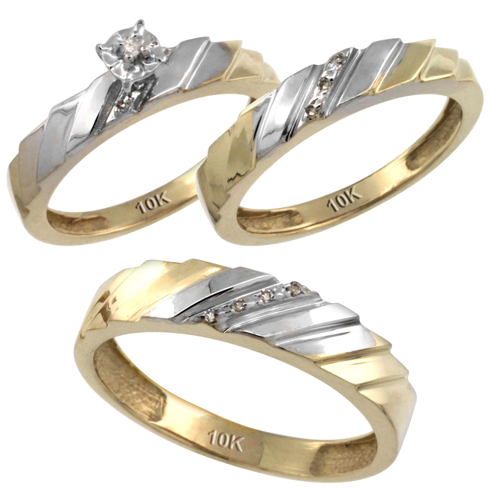 14k Gold 3-Pc. Trio His (5mm) & Hers (4mm) Diamond Wedding Ring Band Set, w/ 0.075 Carat Brilliant Cut Diamonds (Ladies' Sizes 5-10; Men's Sizes 8 to 14)