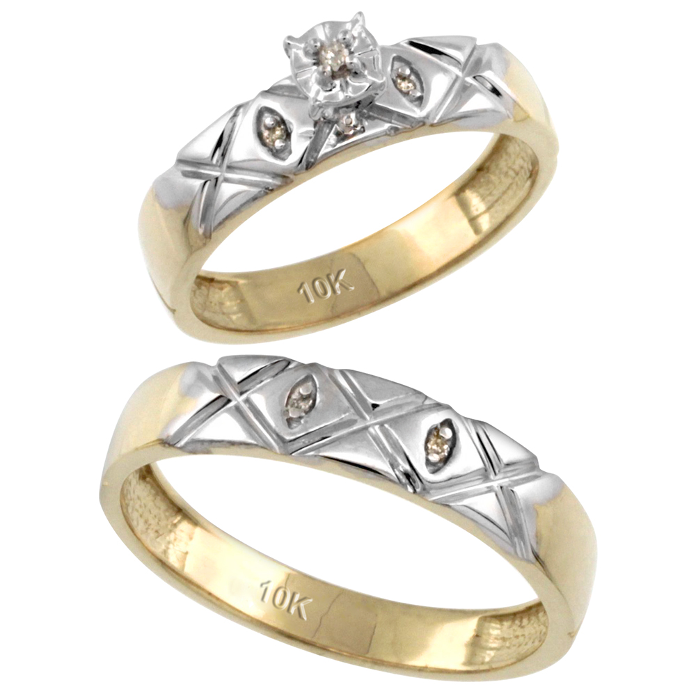 14k Gold 2-Pc Diamond Ring Set (4.5mm Engagement Ring & 5mm Man's Wedding Band), w/ 0.043 Carat Brilliant Cut Diamonds