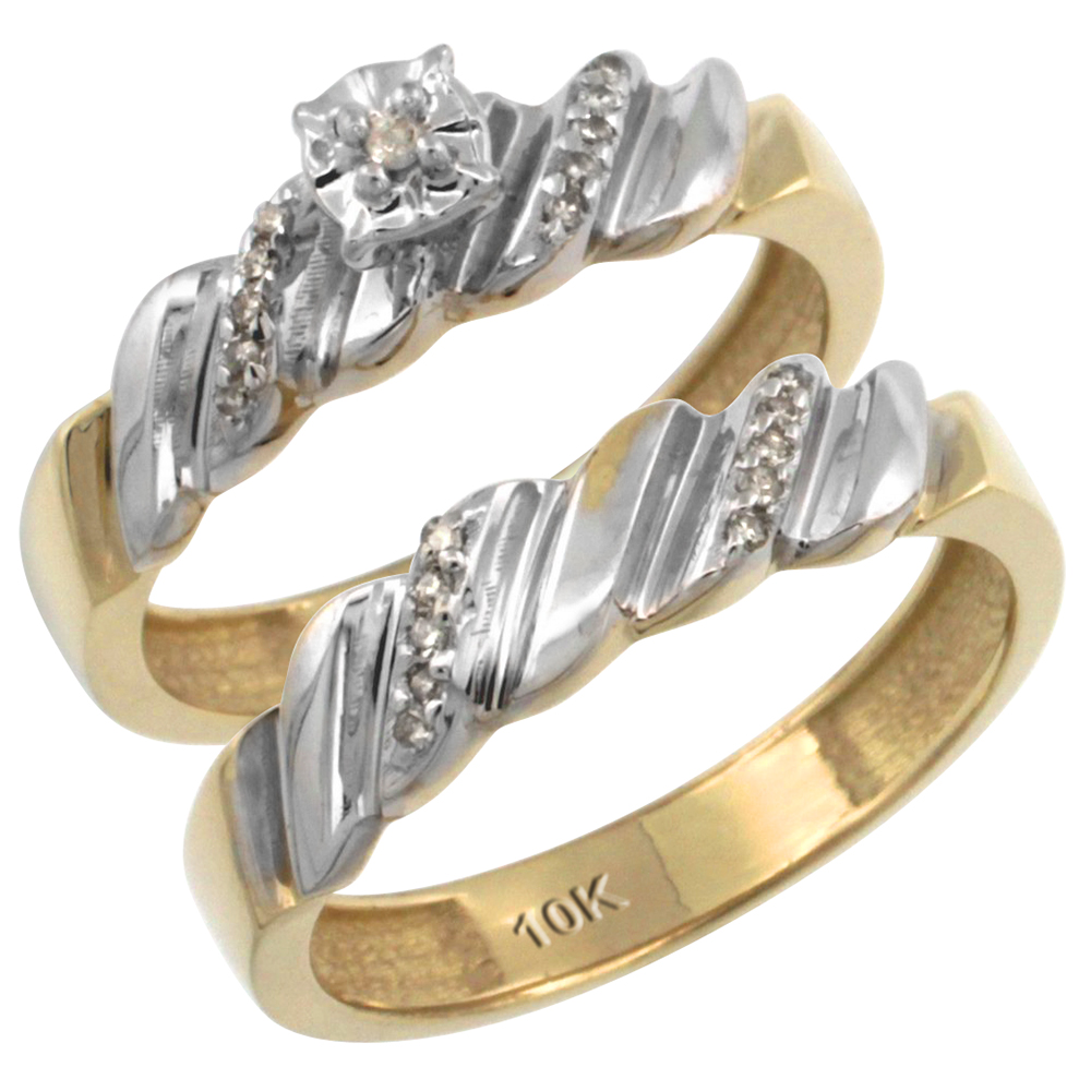 14k Gold 2-Pc Diamond Engagement Ring Set w/ 0.143 Carat Brilliant Cut Diamonds, 5/32 in. (5mm) wide