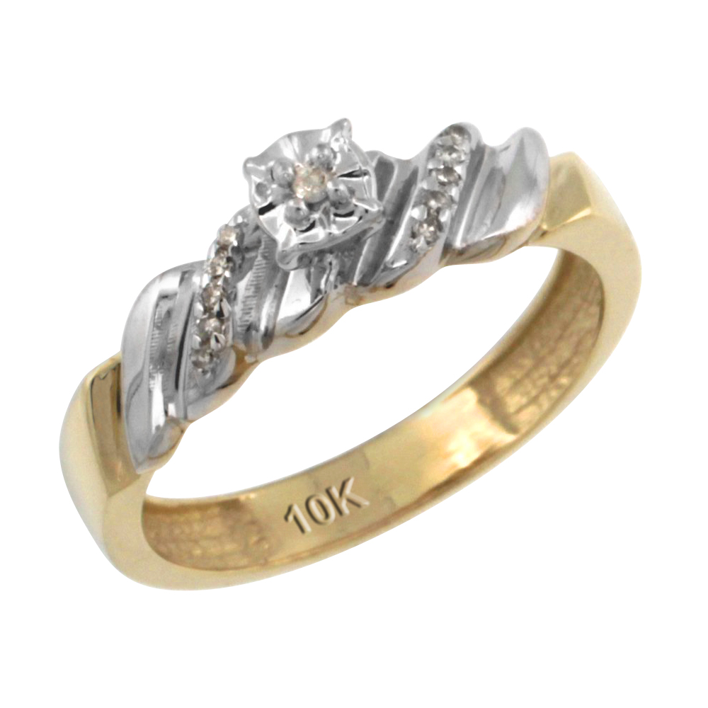 14k Gold Diamond Engagement Ring w/ 0.08 Carat Brilliant Cut Diamonds, 5/32 in. (5mm) wide