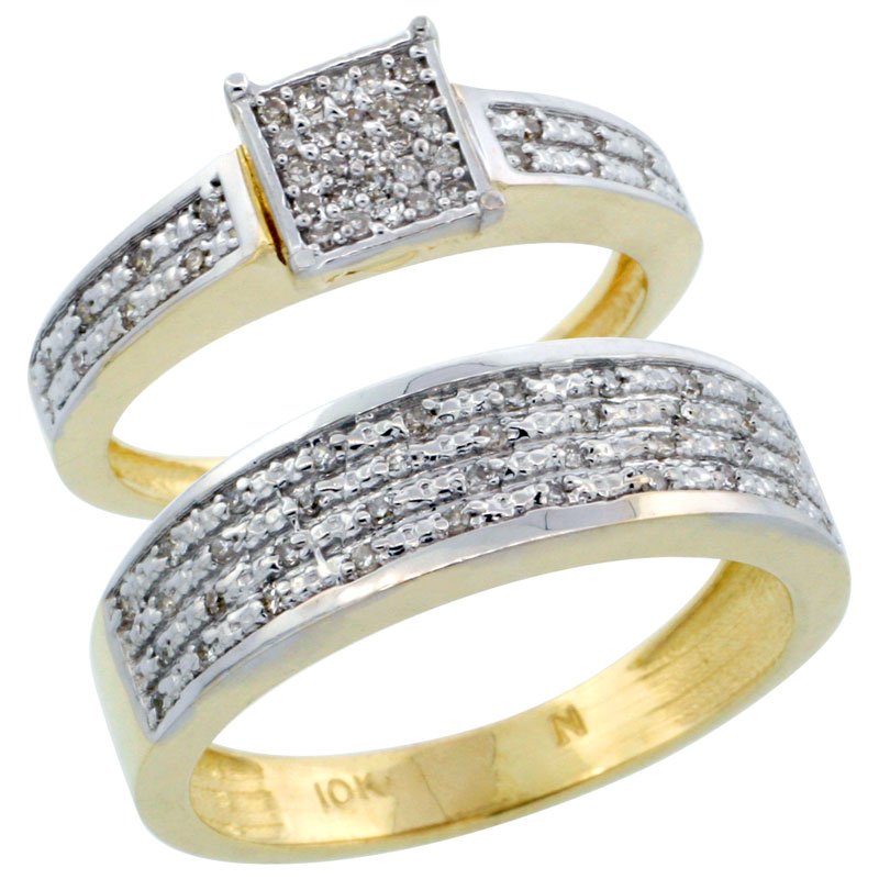 14k Gold 2-Piece Diamond Ring Band Set w/ Rhodium Accent ( Engagement Ring & Man's Wedding Band ), w/ 0.27 Carat Brilliant Cut Diamonds, ( 3.5mm; 6.5mm ) wide