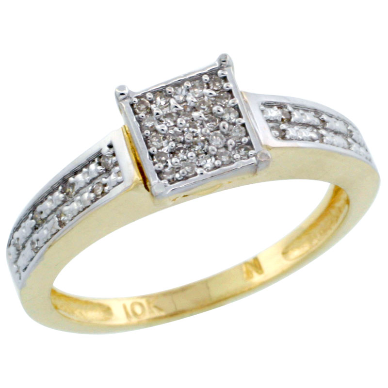 14k Gold Diamond Engagement Ring w/ 0.145 Carat Brilliant Cut Diamonds, 1/8 in. (3mm) wide