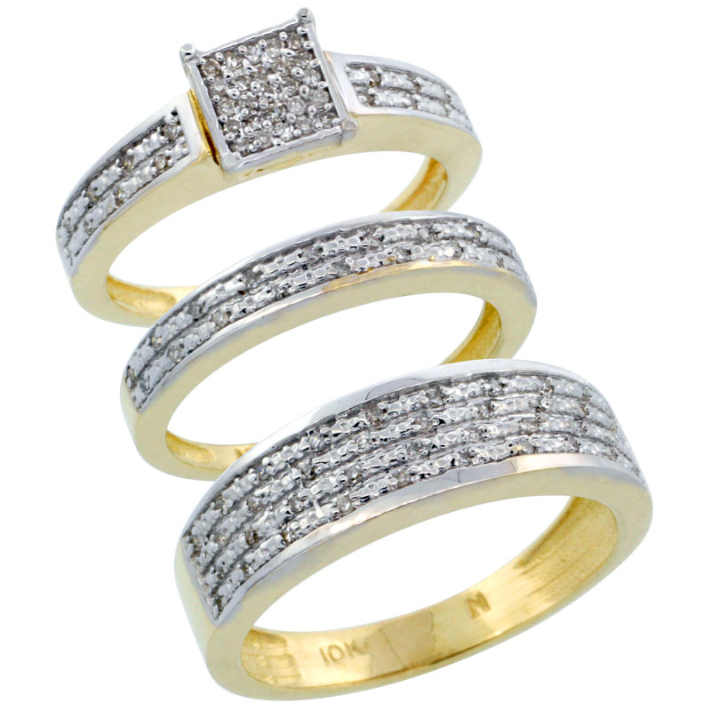 14k Gold 3-Piece Trio His (6.5mm) & Hers (3.5mm) Diamond Wedding Ring Band Set w/ 0.328 Carat Brilliant Cut Diamonds; (Ladies Size 5 to10; Men's Size 8 to 14)
