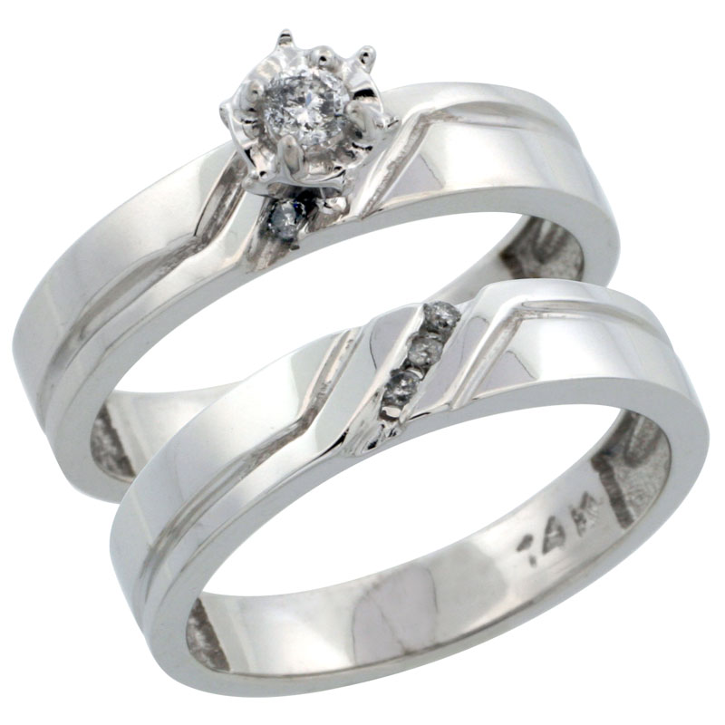 14k White Gold 2-Piece Diamond Engagement Ring Band Set w/ 0.14 Carat Brilliant Cut Diamonds, 5/32 in. (4mm) wide