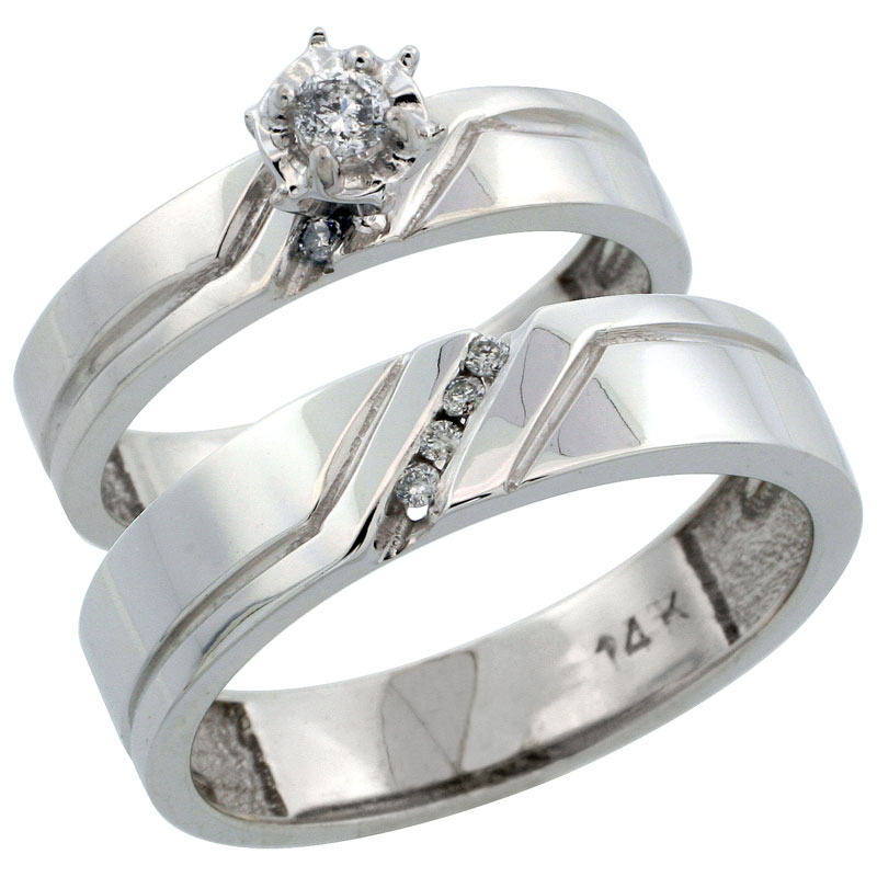 14k White Gold 2-Piece Diamond Ring Band Set w/ Rhodium Accent ( Engagement Ring & Man's Wedding Band ), w/ 0.15 Carat Brilliant Cut Diamonds, ( 4mm; 5mm ) wide