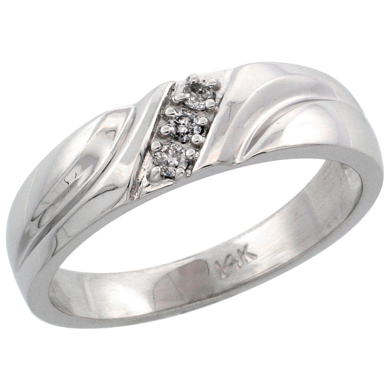 14k White Gold Ladies' Diamond Ring Band w/ 0.06 Carat Brilliant Cut Diamonds, 3/16 in. (5mm) wide