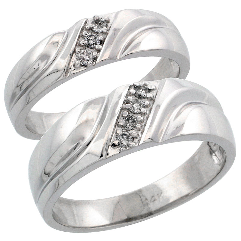 14k White Gold 2-Piece His (7mm) & Hers (5mm) Diamond Wedding Ring Band Set w/ 0.15 Carat Brilliant Cut Diamonds; (Ladies Size 5 to10; Men's Size 8 to 14)