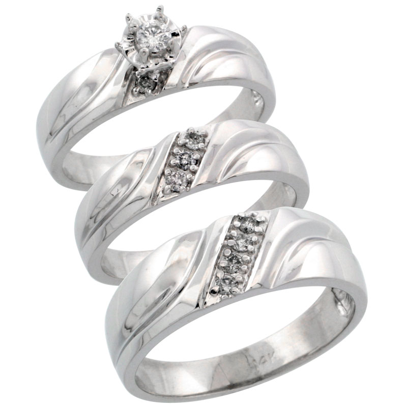 14k White Gold 3-Piece Trio His (7mm) & Hers (5mm) Diamond Wedding Ring Band Set w/ 0.26 Carat Brilliant Cut Diamonds; (Ladies Size 5 to10; Men's Size 8 to 14)
