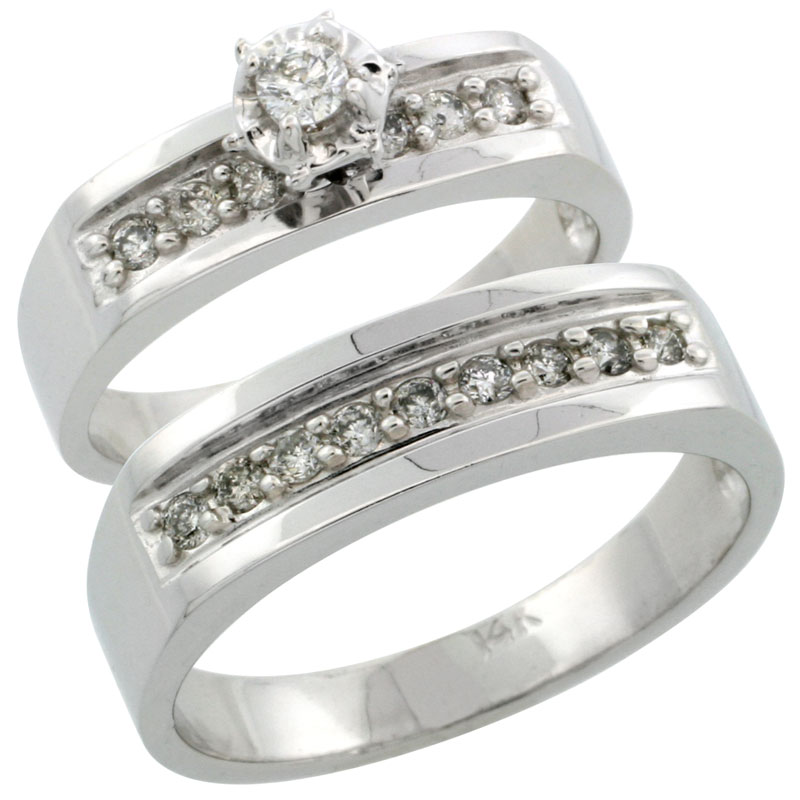 14k White Gold 2-Piece Diamond Ring Band Set w/ Rhodium Accent ( Engagement Ring & Man's Wedding Band ), w/ 0.39 Carat Brilliant Cut Diamonds, ( 5mm; 6mm ) wide
