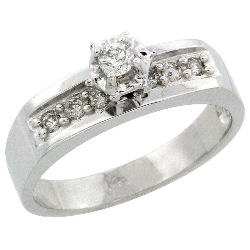 14k White Gold Diamond Engagement Ring w/ 0.20 Carat Brilliant Cut Diamonds, 3/16 in. (5mm) wide
