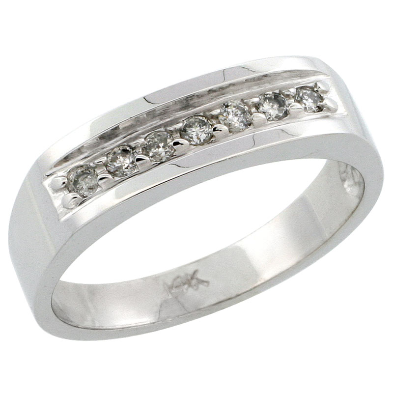 14k White Gold Ladies' Diamond Ring Band w/ 0.15 Carat Brilliant Cut Diamonds, 3/16 in. (5mm) wide