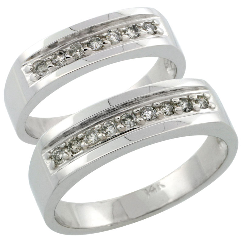 14k White Gold 2-Piece His (6mm) & Hers (5mm) Diamond Wedding Ring Band Set w/ 0.34 Carat Brilliant Cut Diamonds; (Ladies Size 5 to10; Men's Size 8 to 14)