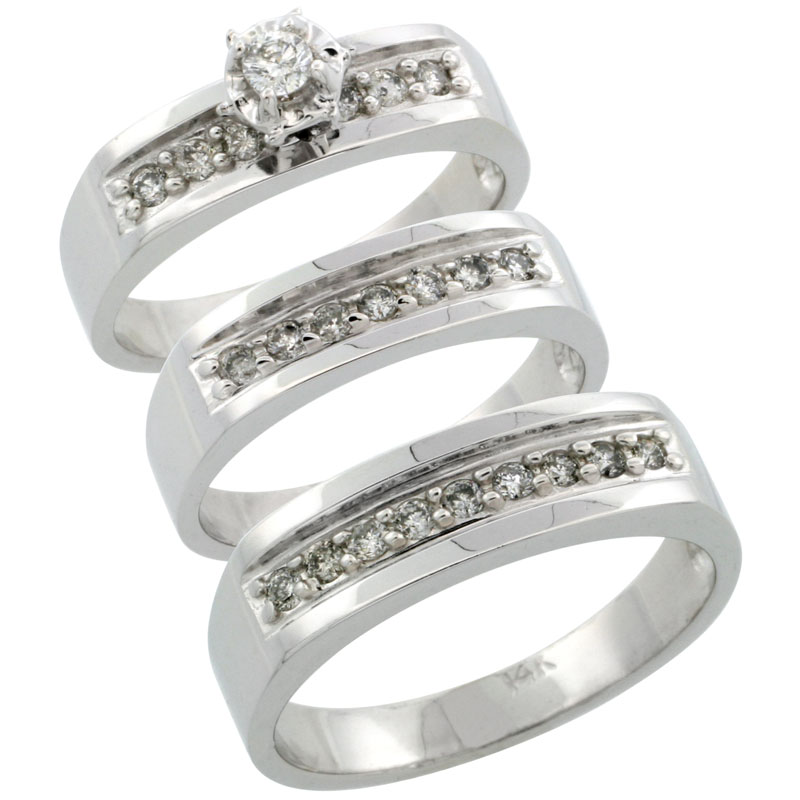 14k White Gold 3-Piece Trio His (6mm) & Hers (5mm) Diamond Wedding Ring Band Set w/ 0.54 Carat Brilliant Cut Diamonds; (Ladies Size 5 to10; Men's Size 8 to 14)