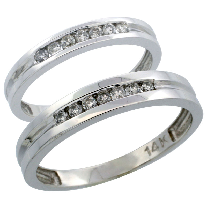 14k White Gold 2-Piece His (4mm) & Hers (3mm) Diamond Wedding Ring Band Set w/ 0.30 Carat Brilliant Cut Diamonds; (Ladies Size 5 to10; Men's Size 8 to 14)