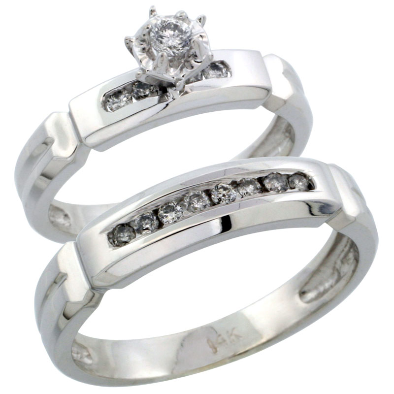 14k White Gold 2-Piece Diamond Ring Band Set w/ Rhodium Accent ( Engagement Ring & Man's Wedding Band ), w/ 0.28 Carat Brilliant Cut Diamonds, ( 4mm; 5mm ) wide