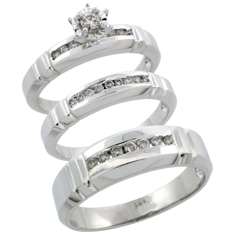 14k White Gold 3-Piece Trio His (6.5mm) & Hers (4mm) Diamond Wedding Ring Band Set w/ 0.39 Carat Brilliant Cut Diamonds; (Ladies Size 5 to10; Men's Size 8 to 14)