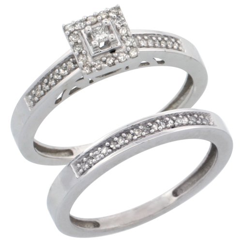 14k White Gold 2-Piece Diamond Engagement Ring Set, w/ 0.27 Carat Brilliant Cut Diamonds, 3/32 in. (2.5mm) wide
