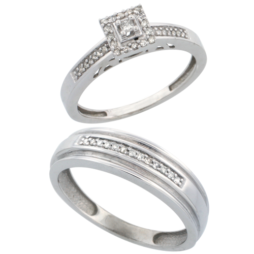14k White Gold 2-Piece Diamond Ring Set ( Engagement Ring & Man's Wedding Band ), w/ 0.25 Carat Brilliant Cut Diamonds, ( 2. 5mm; 6mm ) wide
