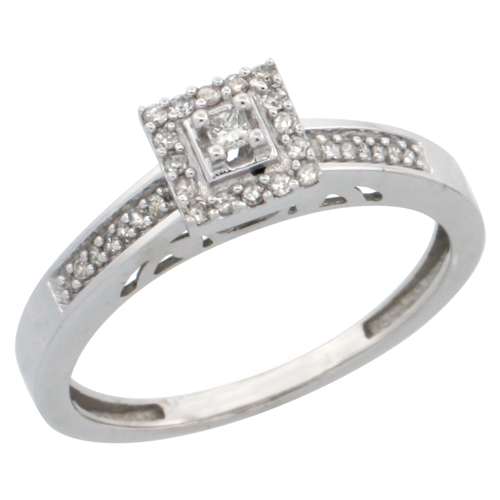 14k White Gold Diamond Engagement Ring, w/ 0.19 Carat Brilliant Cut Diamonds, 3/32 in. (2.5mm) wide