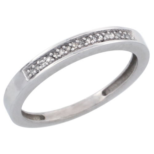 14k White Gold Ladies' Diamond Band, w/ 0.08 Carat Brilliant Cut Diamonds, 3/32 in. (2.5mm) wide