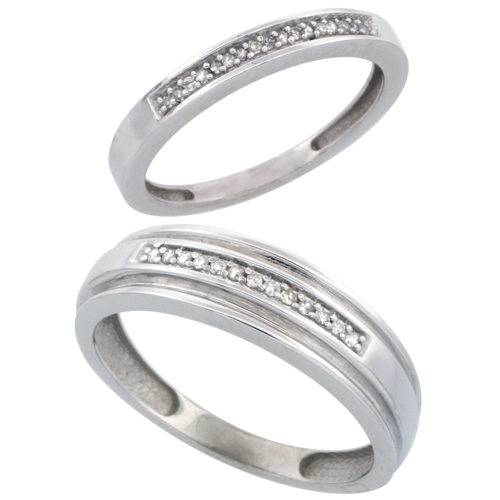 10k White Gold 2-Piece His (6mm) & Hers (2.5mm) Diamond Wedding Band Set, w/ 0.10 Carat Brilliant Cut Diamonds; (Ladies Size 5 to10; Men's Size 8 to 10)