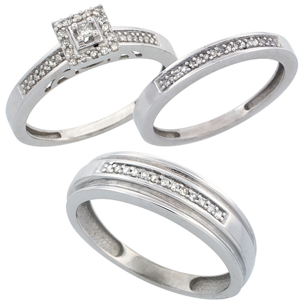 14k White Gold 3-Piece Trio His (6mm) & Hers (2.5mm) Diamond Wedding Band Set, w/ 0.33 Carat Brilliant Cut Diamonds; (Ladies Siz