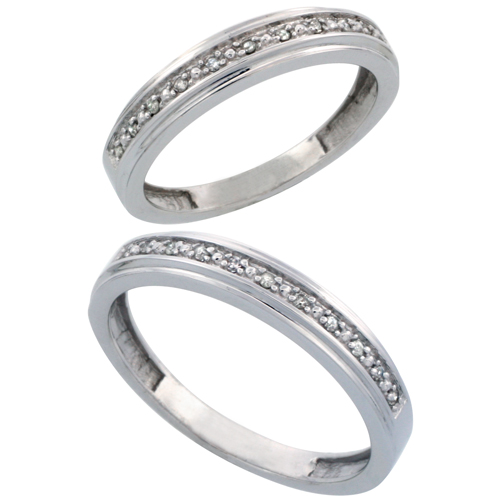 10k White Gold 2-Piece His (4mm) & Hers (4mm) Diamond Wedding Band Set, w/ 0.16 Carat Brilliant Cut Diamonds; (Ladies Size 5 to10; Men's Size 8 to 10)