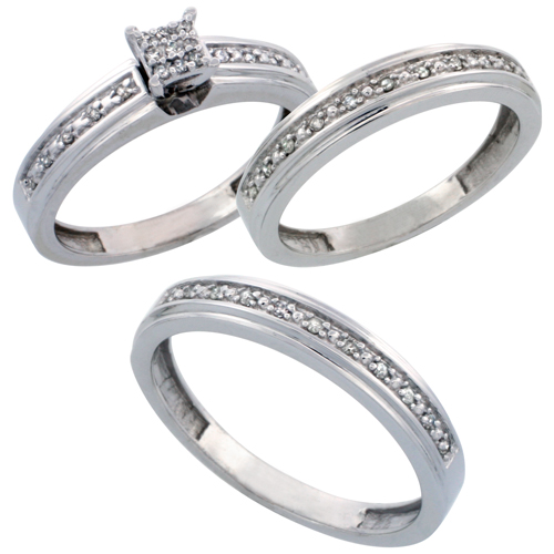 14k White Gold 3-Piece Trio His (4mm) & Hers (4mm) Diamond Wedding Band Set, w/ 0.29 Carat Brilliant Cut Diamonds; (Ladies Size 5 to10; Men's Size 8 to 14)