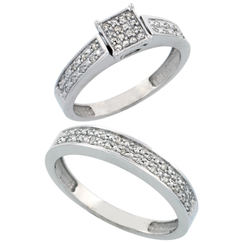 14k White Gold 2-Piece Diamond Ring Set ( Engagement Ring & Man's Wedding Band ), w/ 0.24 Carat Brilliant Cut Diamonds, 5/32 in. (4mm) wide