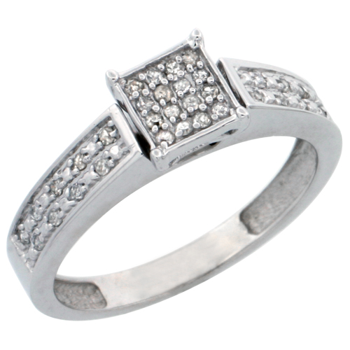 14k White Gold Diamond Engagement Ring, w/ 0.14 Carat Brilliant Cut Diamonds, 5/32 in. (4mm) wide