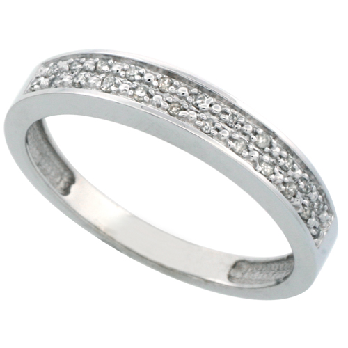 14k White Gold Men's Diamond Band, w/ 0.10 Carat Brilliant Cut Diamonds, 5/32 in. (4mm) wide
