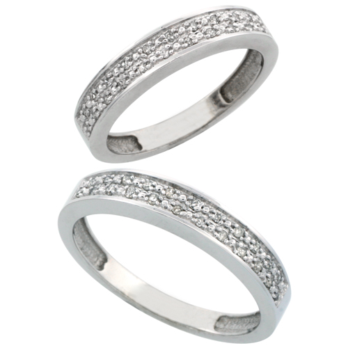10k White Gold 2-Piece His (4mm) & Hers (4mm) Diamond Wedding Band Set, w/ 0.20 Carat Brilliant Cut Diamonds; (Ladies Size 5 to10; Men's Size 8 to 10)