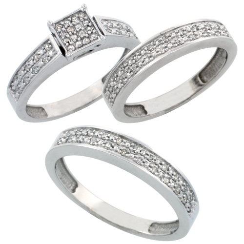 14k White Gold 3-Piece Trio His (4mm) & Hers (4mm) Diamond Wedding Band Set, w/ 0.34 Carat Brilliant Cut Diamonds; (Ladies Size 5 to10; Men's Size 8 to 14)
