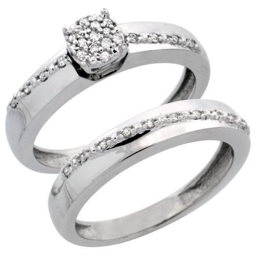 14k White Gold 2-Piece Diamond Engagement Ring Set, w/ 0.22 Carat Brilliant Cut Diamonds, 1/8 in. (3.5mm) wide