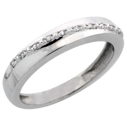 14k White Gold Ladies' Diamond Band, w/ 0.08 Carat Brilliant Cut Diamonds, 1/8 in. (3.5mm) wide
