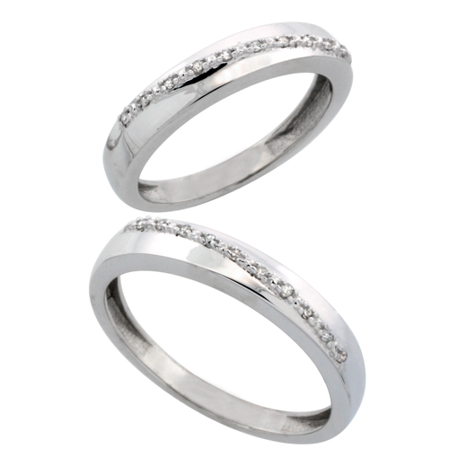 10k White Gold 2-Piece His (3.5mm) & Hers (3.5mm) Diamond Wedding Band Set, w/ 0.16 Carat Brilliant Cut Diamonds; (Ladies Size 5 to10; Men's Size 8 to 10)
