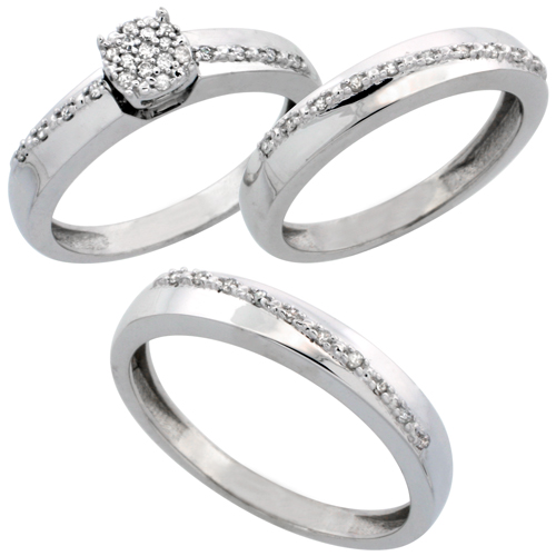 14k White Gold 3-Piece Trio His (3.5mm) & Hers (3.5mm) Diamond Wedding Band Set, w/ 0.30 Carat Brilliant Cut Diamonds; (Ladies Size 5 to10; Men's Size 8 to 14)