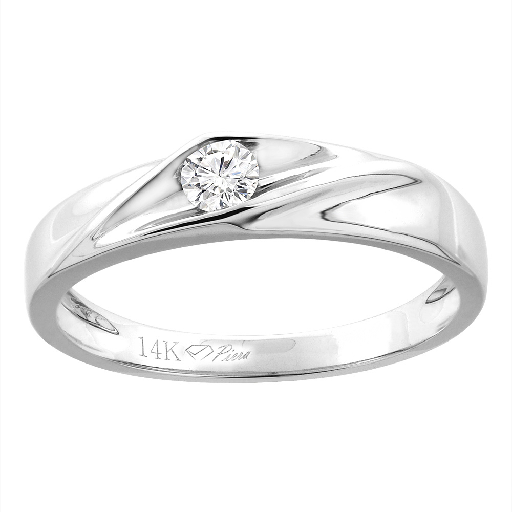 14K White Gold Ladies' Solitaire Diamond Wedding Band 3 mm 0.11 cttw, sizes 5 - 10
