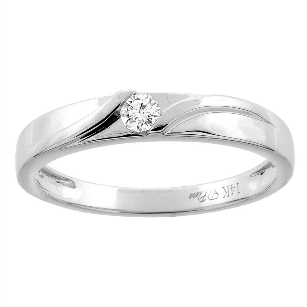 14K White Gold Ladies' Diamond Wedding Band 3 mm 0.07 cttw, sizes 5 - 10
