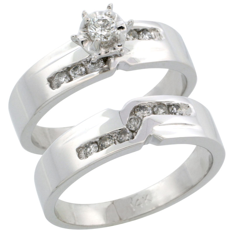 14k White Gold 2-Piece Diamond Engagement Ring Band Set w/ 0.31 Carat Brilliant Cut Diamonds, 3/16 in. (5mm) wide