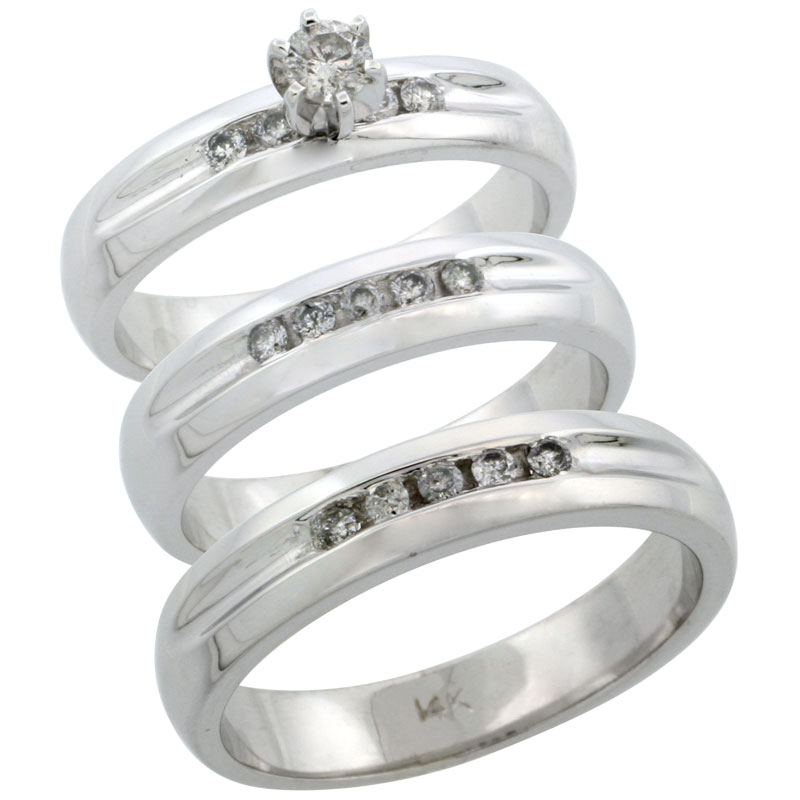 14k White Gold 3-Piece Trio His (4.5mm) & Hers (4.5mm) Diamond Wedding Ring Band Set w/ 0.45 Carat Brilliant Cut Diamonds; (Ladies Size 5 to10; Men's Size 8 to 14)