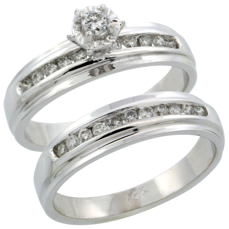 14k White Gold 2-Piece Diamond Engagement Ring Band Set w/ 0.37 Carat Brilliant Cut Diamonds, 3/16 in. (5mm) wide