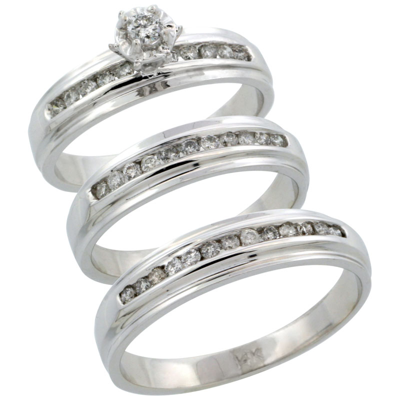 14k White Gold 3-Piece Trio His (5mm) & Hers (5mm) Diamond Wedding Ring Band Set w/ 0.57 Carat Brilliant Cut Diamonds; (Ladies Size 5 to10; Men's Size 8 to 14)