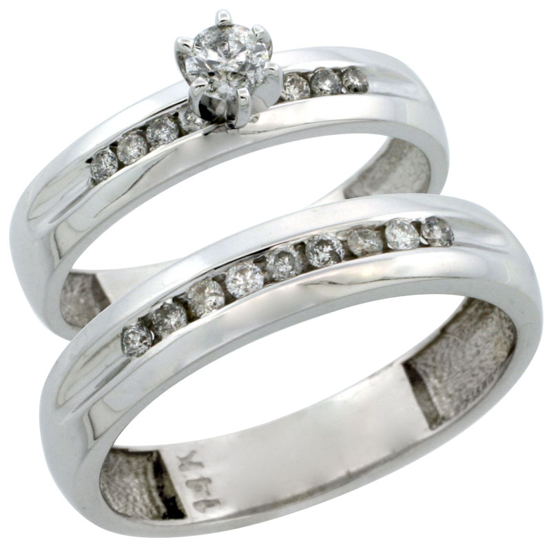 14k White Gold 2-Piece Diamond Ring Band Set w/ Rhodium Accent ( Engagement Ring & Man's Wedding Band ), w/ 0.42 Carat Brilliant Cut Diamonds, ( 4mm; 5mm ) wide
