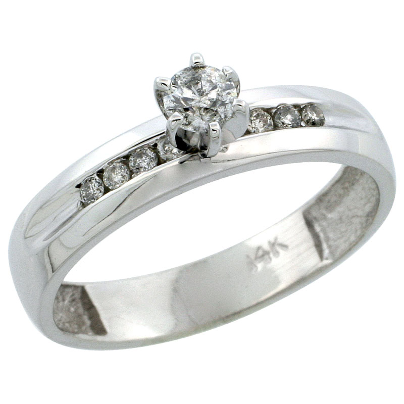 14k White Gold Diamond Engagement Ring w/ 0.26 Carat Brilliant Cut Diamonds, 5/32 in. (4mm) wide
