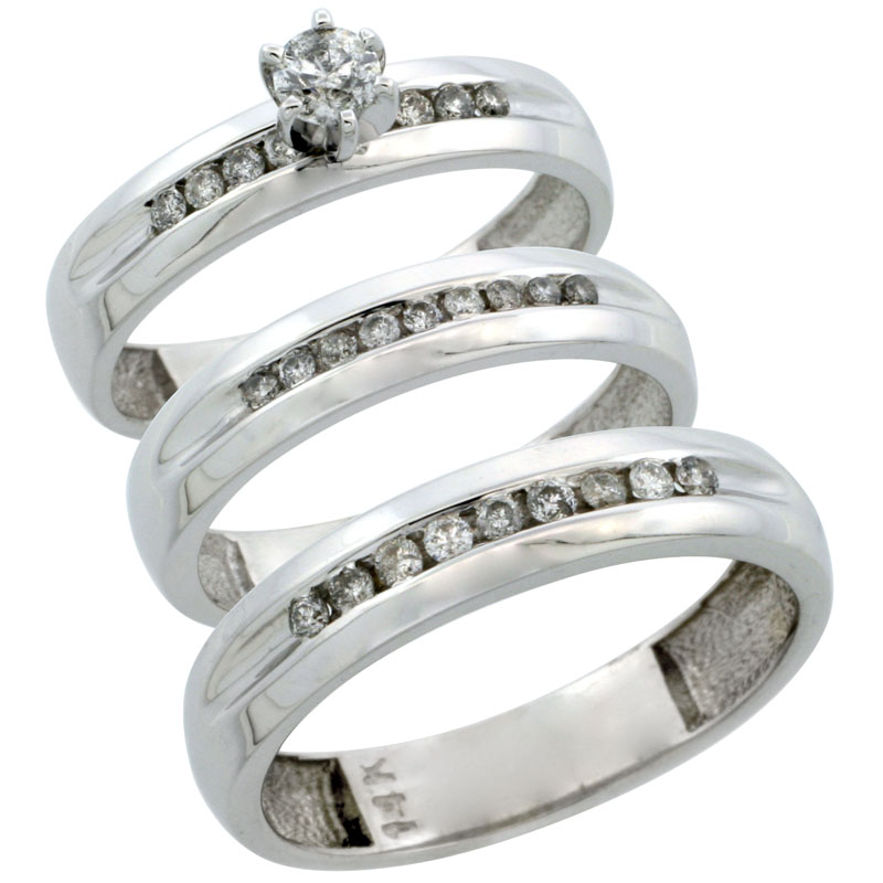 14k White Gold 3-Piece Trio His (5mm) & Hers (4mm) Diamond Wedding Ring Band Set w/ 0.53 Carat Brilliant Cut Diamonds; (Ladies Size 5 to10; Men's Size 8 to 14)