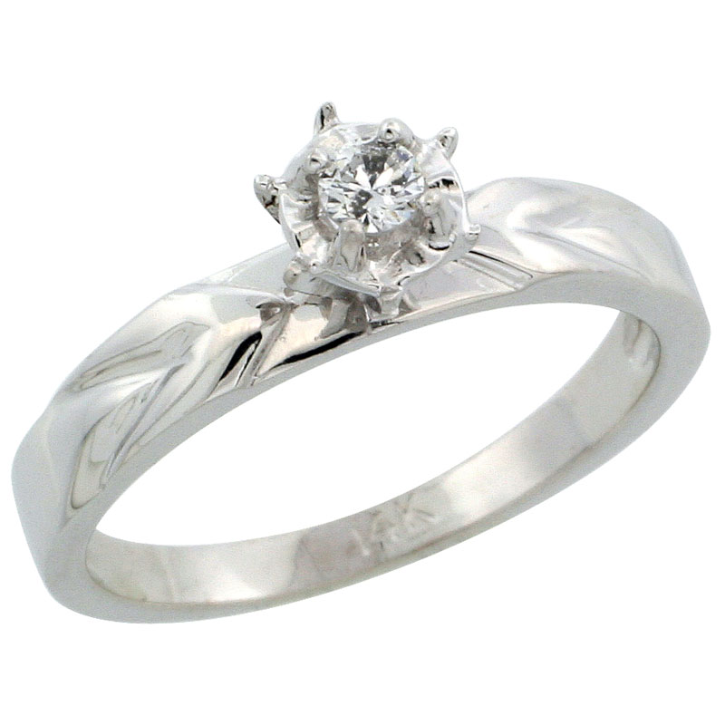 14k White Gold Diamond Engagement Ring w/ 0.07 Carat Brilliant Cut Diamonds, 1/8 in. (3.5mm) wide