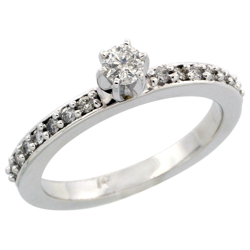 14k White Gold Diamond Engagement Ring w/ 0.34 Carat Brilliant Cut Diamonds, 3/32 in. (2mm) wide