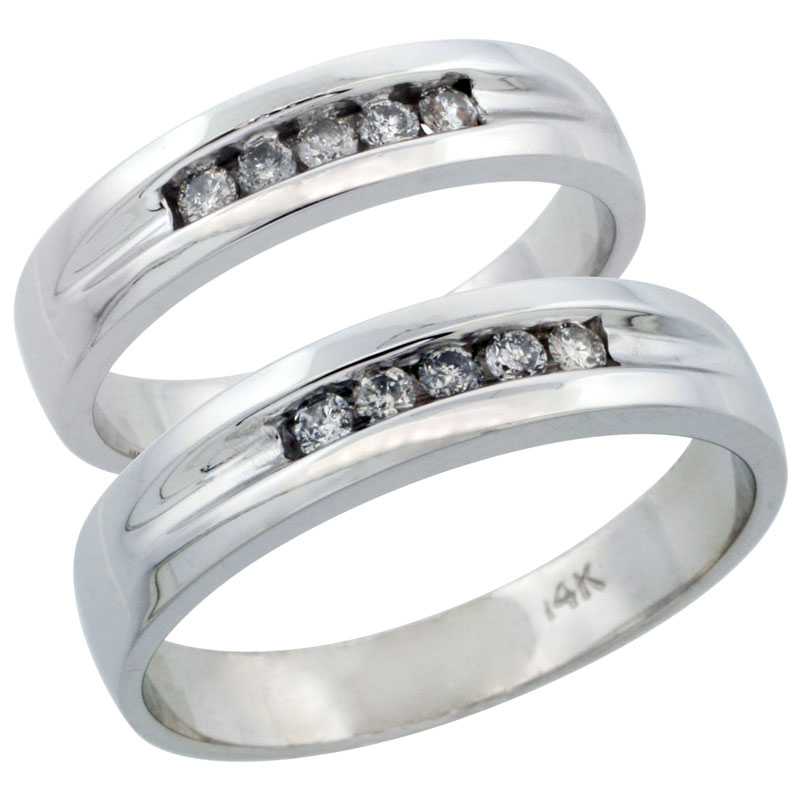 10k White Gold 2-Piece His (6mm) & Hers (6mm) Diamond Wedding Ring Band Set w/ 0.28 Carat Brilliant Cut Diamonds; (Ladies Size 5 to10; Men's Size 8 to 14)