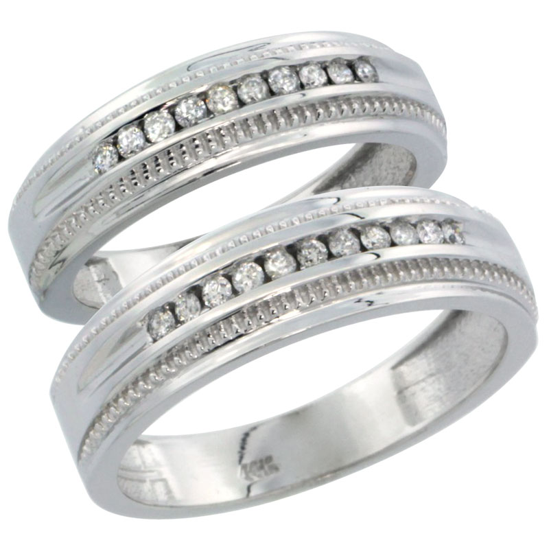 10k White Gold 2-Piece His (6.5mm) & Hers (6mm) Diamond Wedding Ring Band Set w/ 0.60 Carat Brilliant Cut Diamonds; (Ladies Size 5 to10; Men's Size 8 to 12.5)